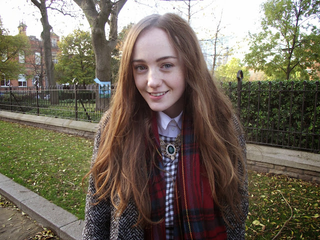 tartan scarf, primark, coat, tweed, boyfriend coat, teddy boys coat, gingham smock dress, vintage necklace, long hair, heterochromia iridum, different coloured eyes, multicoloured eyes