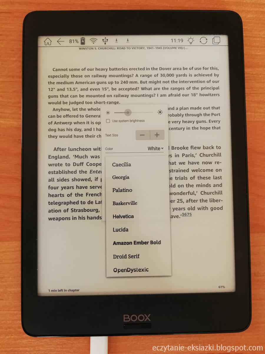Wybór czcionki w aplikacji Kindle na czytniku Onyx Boox Nova