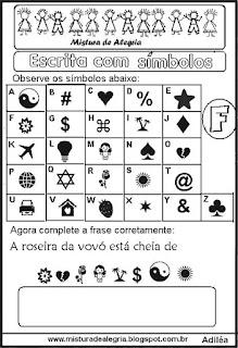 Sequência alfabética escrita com símbolos