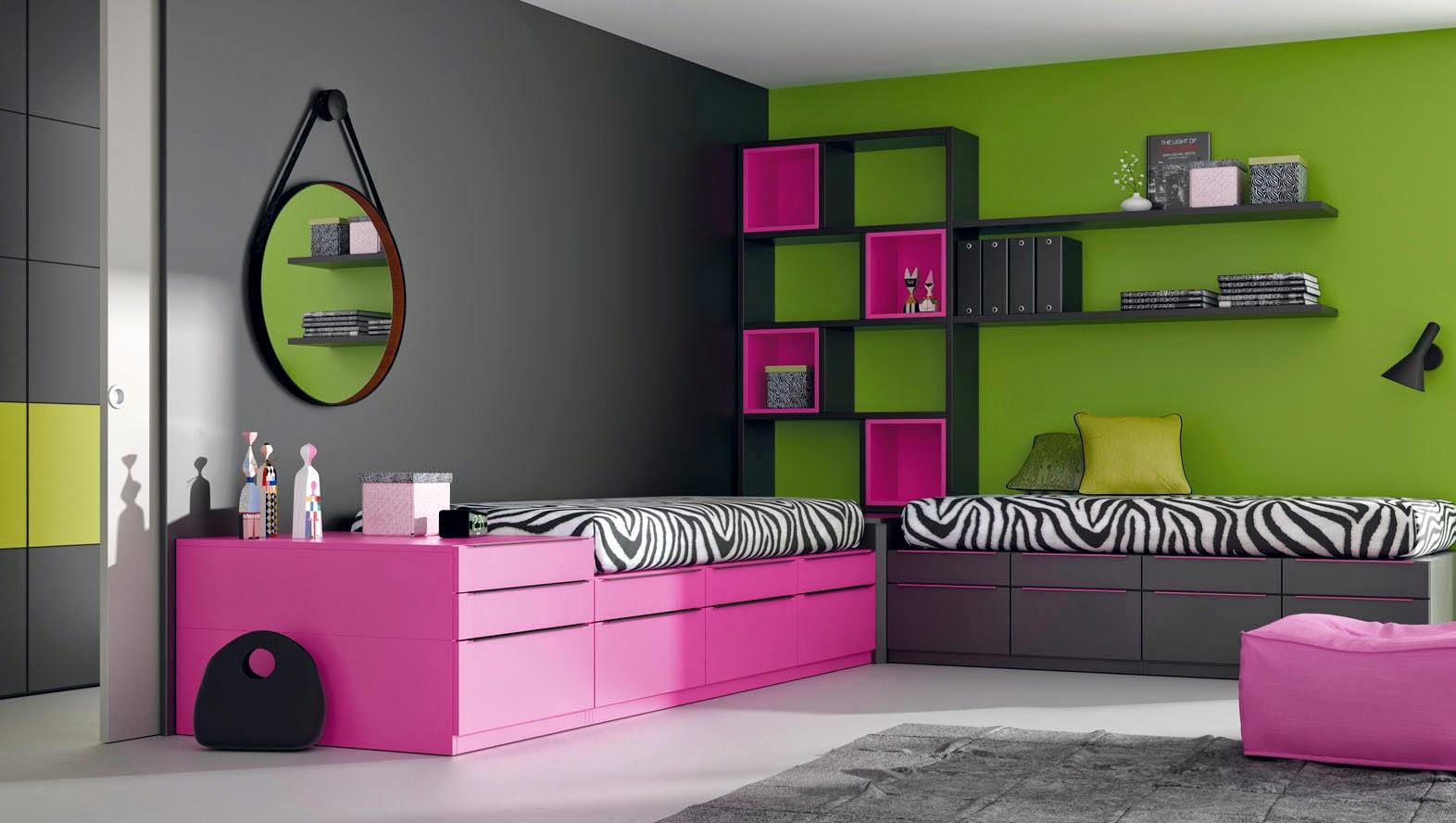 Dormitorio juvenil rosa y gris oscuro