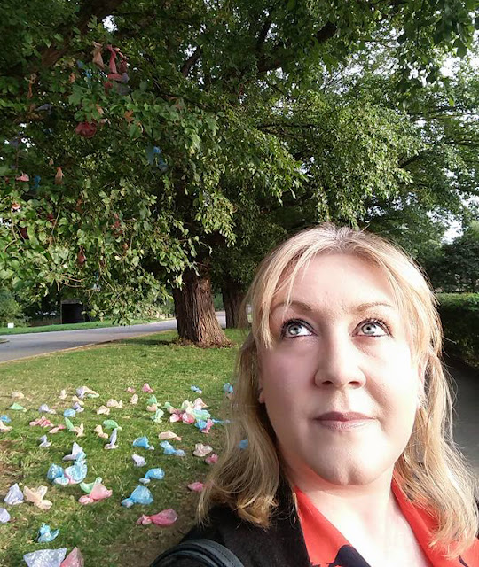 Julie Howell by the dog poo tree