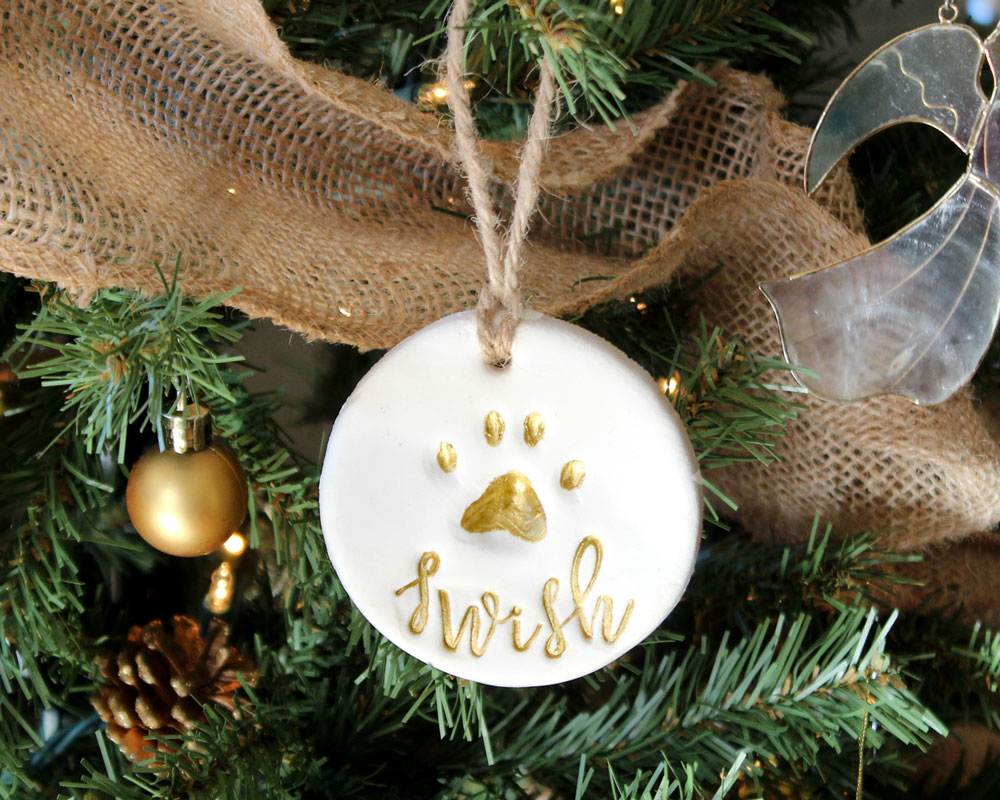 Personalized pet ornament - Diy Natural Organic Pet Cat Dog Paw Print Ornament Script Stamps