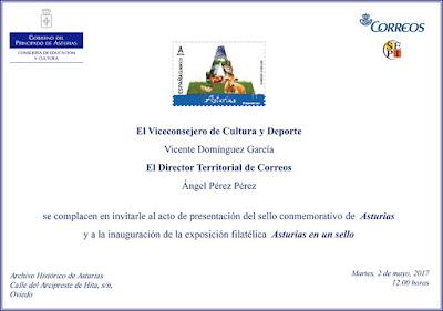 Invitación a presentación e inauguración de Asturias en un sello