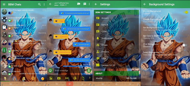 BBM Mod Dragonball Theme Goku Versi 3.0.1.25 Apk Terabru For Android