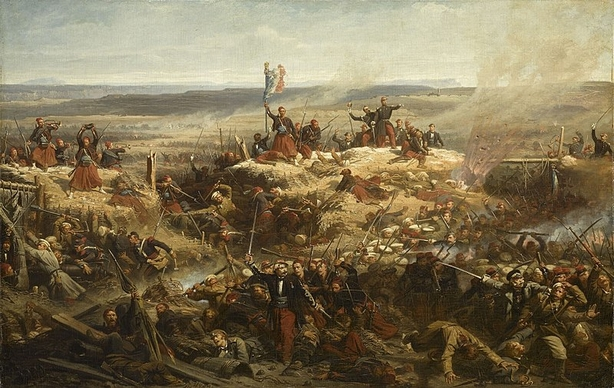 Crimea war - Sebastopol siege - Capture of Malakoff Tower by General Mac-Mahon, September 8, 1855 (by Adolphe Yvon) Russophobia