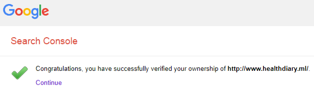 website verified with Google