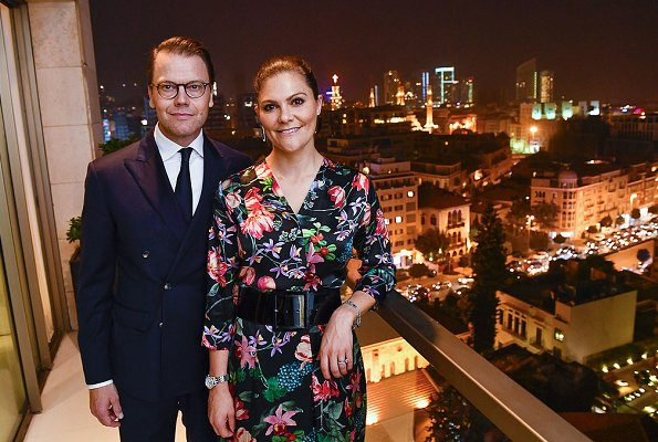 Crown Princess Victoria wore a By Malina Columbine Dress. Jörgen Lindskogs, Swedish Ambassador in Lebanon