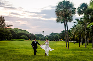 Lovely Couple Enjoying The Beauty Of Nature On Their Big Day