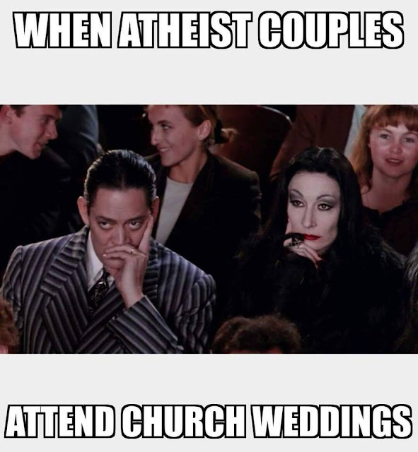 When atheist couples attend church weddings funny religious picture