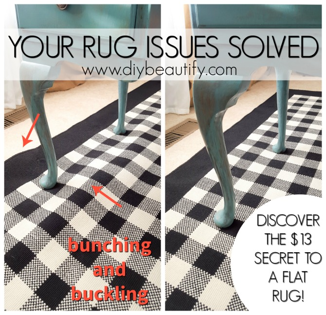 I found an inexpensive solution to the common problem of a buckling area rug  and it\'s