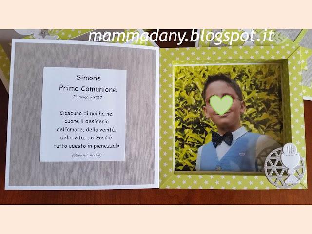 Particolare foto e scritta Prima Comunione di Simone