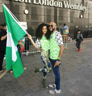 Adesua and Banky W at Wembly stadium