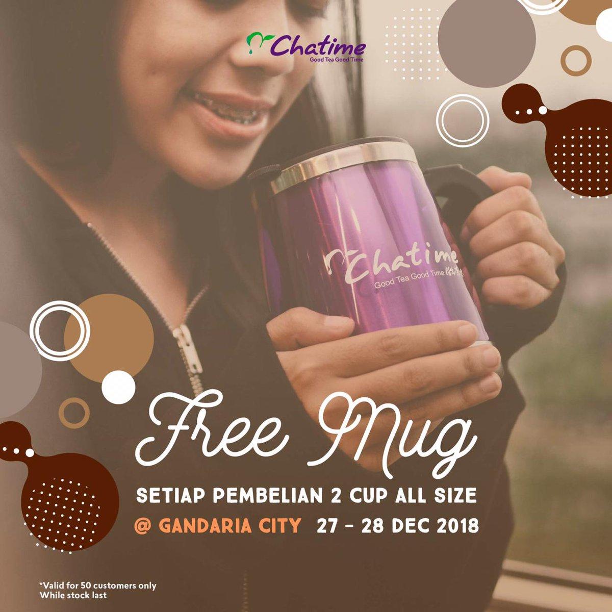 #Chatime - Promo Free Mug Setiap Beli 2 Cup All Size di Gandaria City (s.d HARI INI)