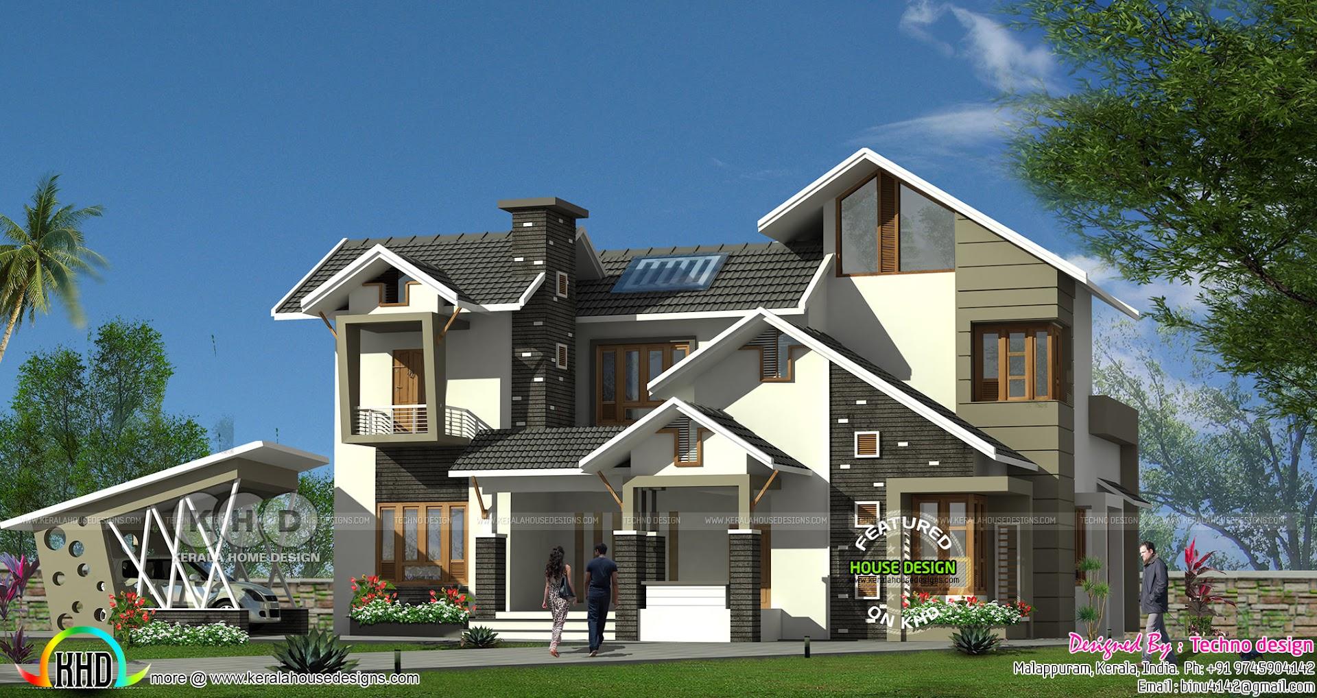 K H D Home Design Part - 43: Ultra Modern 4 Bedroom Sloping Roof Kerala Home