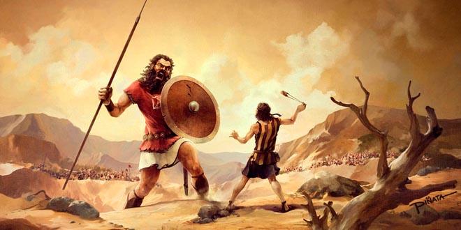 En todo el mundo, desde las culturas más antiguas conocidas, se han hecho referencia a seres gigantescos. Representación de la escena de la lucha entre el gigante Goliat y David.