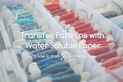 transfer embroidery patterns with water soluble paper