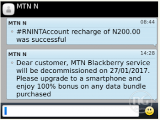 MTN Blackberry Internet Service (BIS) To Be Decommissioned Soon - Checkout Date
