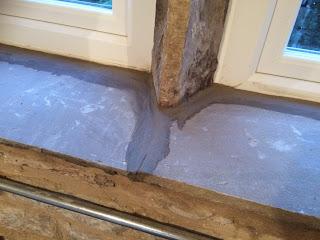 How to mortar in stone windowsills