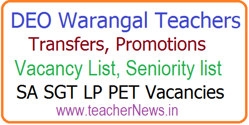DEO Warangal District Teachers Transfers Vacancy List, Seniority list 2018 –Check SA SGT LP PET Vacancies