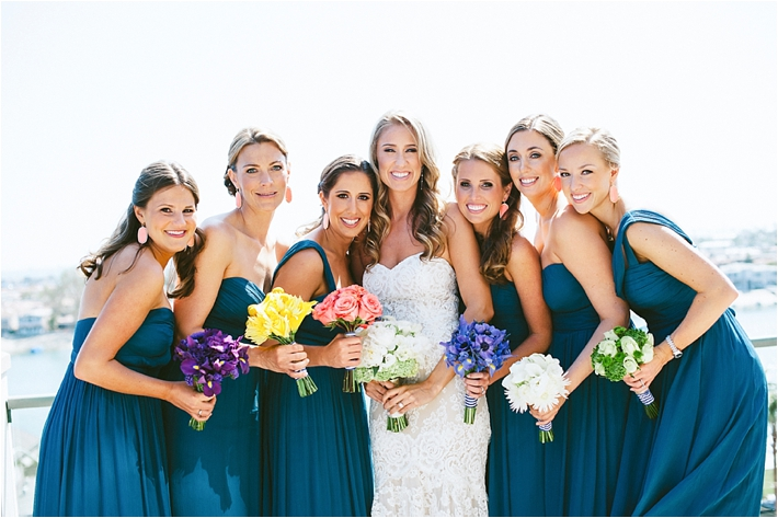Bride and bridesmaids in blue gowns | Sargeant Creative