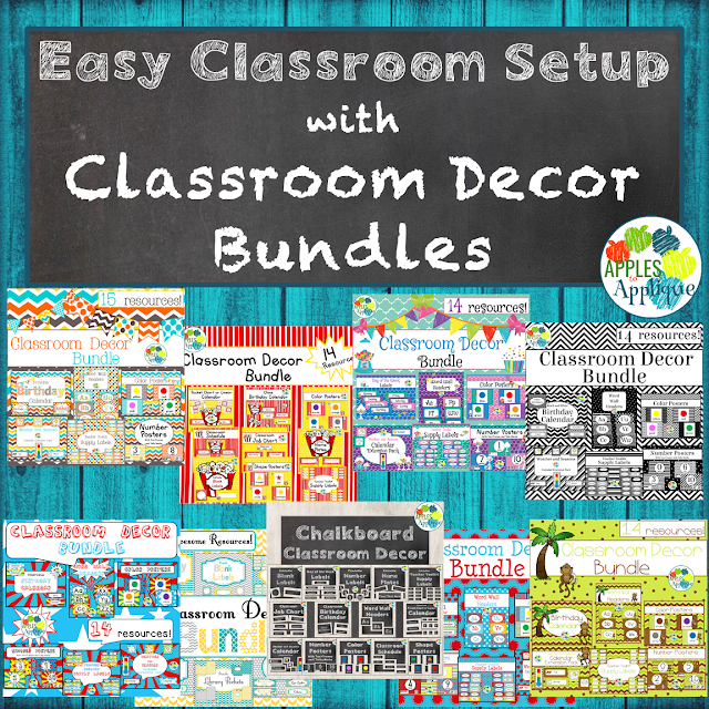 Make classroom setup a breeze with classroom decor bundles in a variety of themes! | Apples to Applique