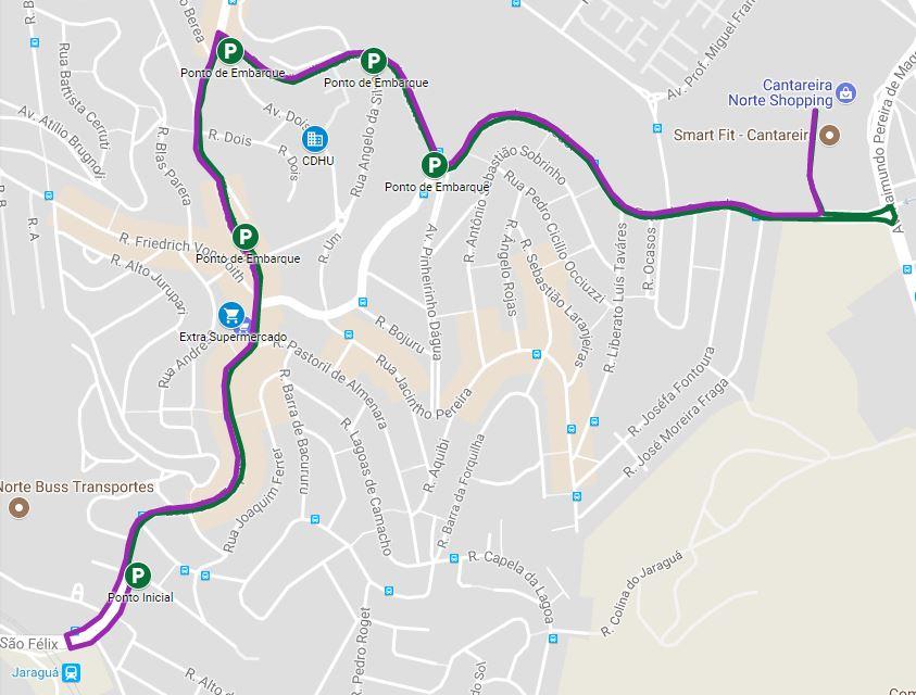 Mapa do trajeto com os pontos de parada do micro-ônibus
