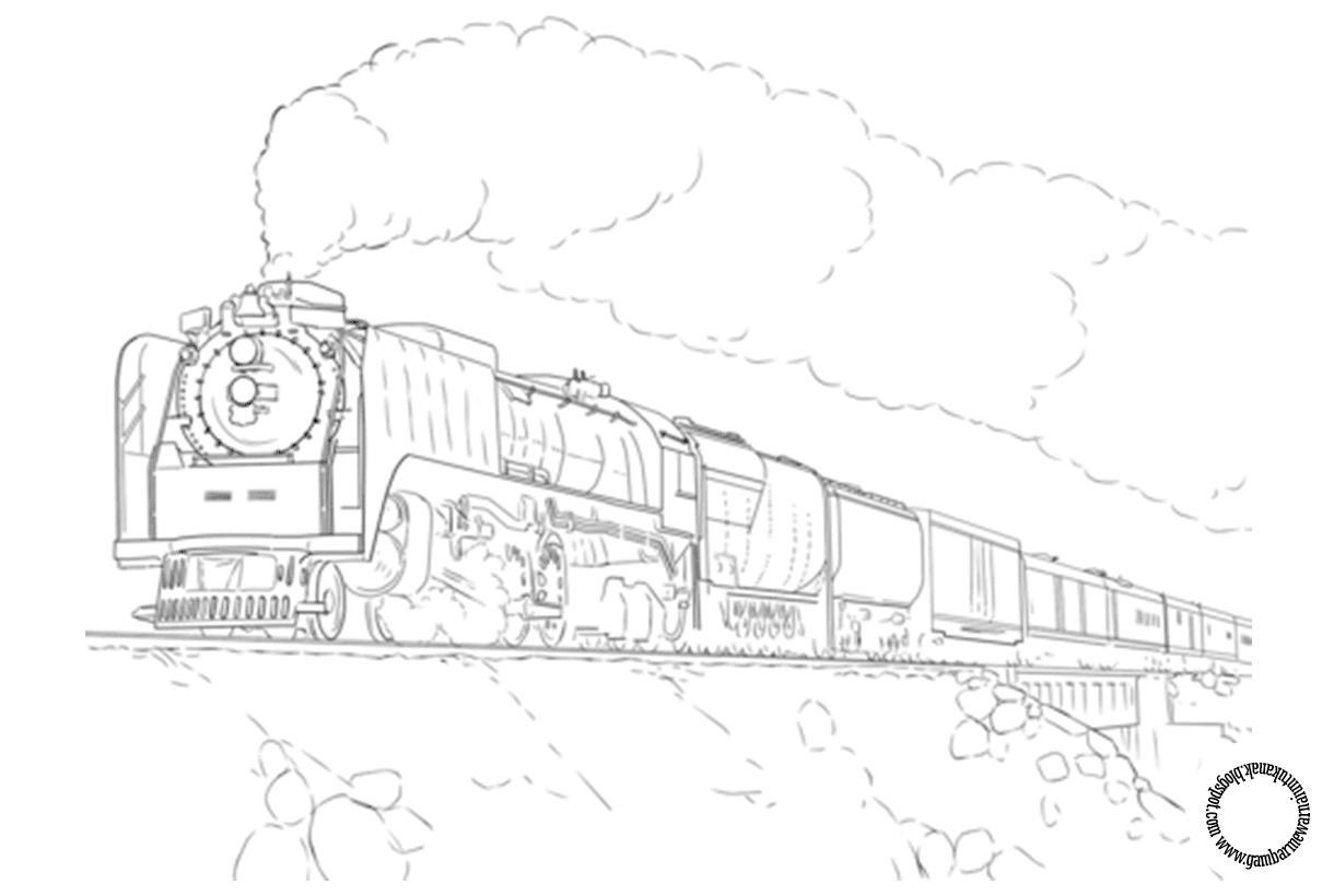 Gambar Mewarnai Kereta Api Untuk Anak
