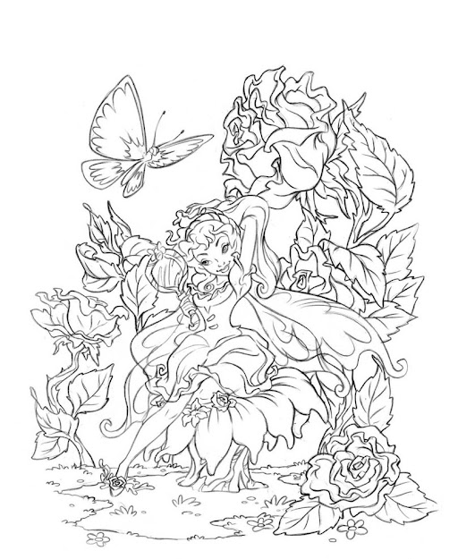 Butterfly Fairy Rose Coloring Pages Colouring Adult Detailed Advanced  Printable Kleuren Voor Volwassenen Fairies Coloring Book