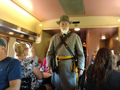 General Lee Reenactor on Train, Mt. Rainier Scenic Railroad 2016