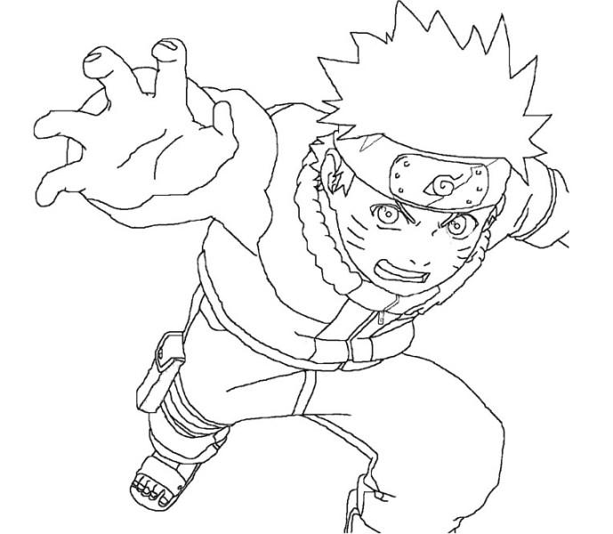 Sketsa Gambar Naruto Saat Beraksi Untuk Belajar Mewarnai Anak