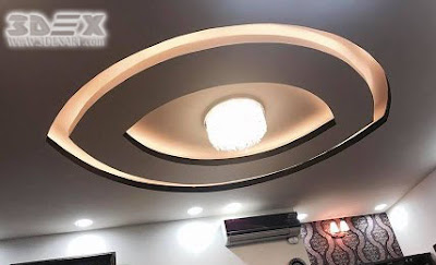 POP ceiling designs false ceiling for hall with LED lights
