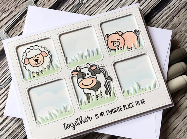 Sunny Studio Stamps: Barnyard Buddies Window Trio Dies Customer Card Share by Noga Shefer