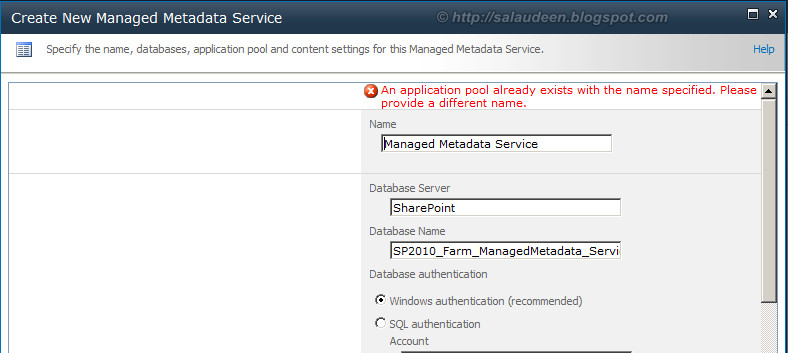 how to delete service application pool sharepoint 2010
