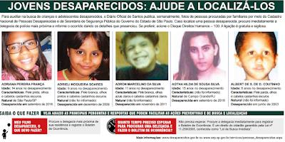 Fotos de Jovens Desaparecidos divulgados no DO de Santos