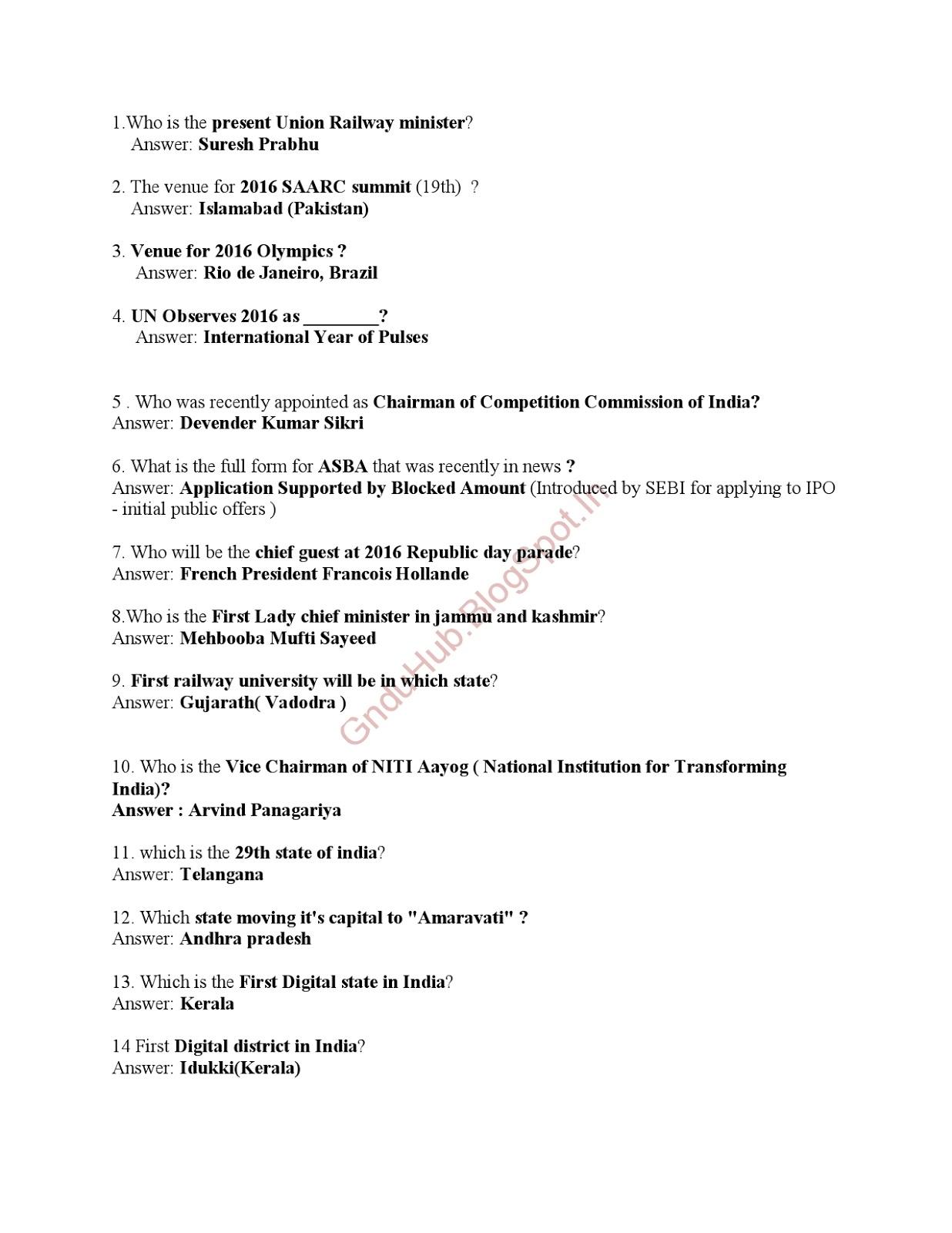 Current Affairs 50 Questions Anwser 2016 PDF(GnduHub) ~ Next