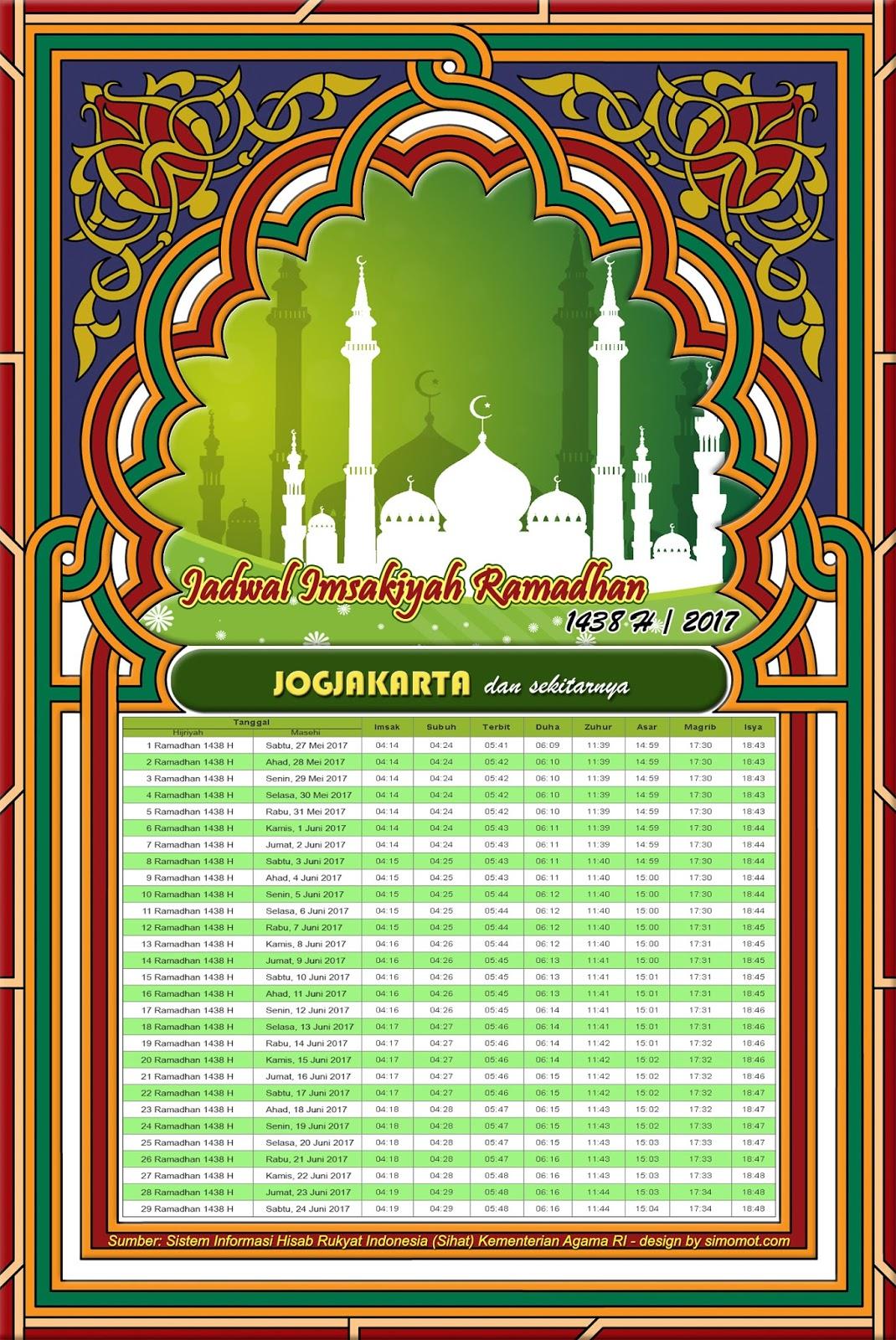 Jadwal Imsakiyah Jogja 2017 - Ramadhan 1438 H