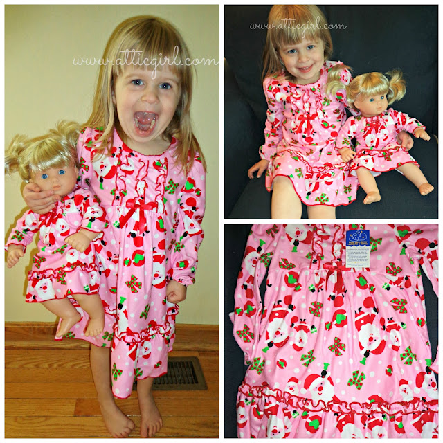 Matching Sleepwear Sets for Girls and dolls, holiday gifts, santa clause nightgown