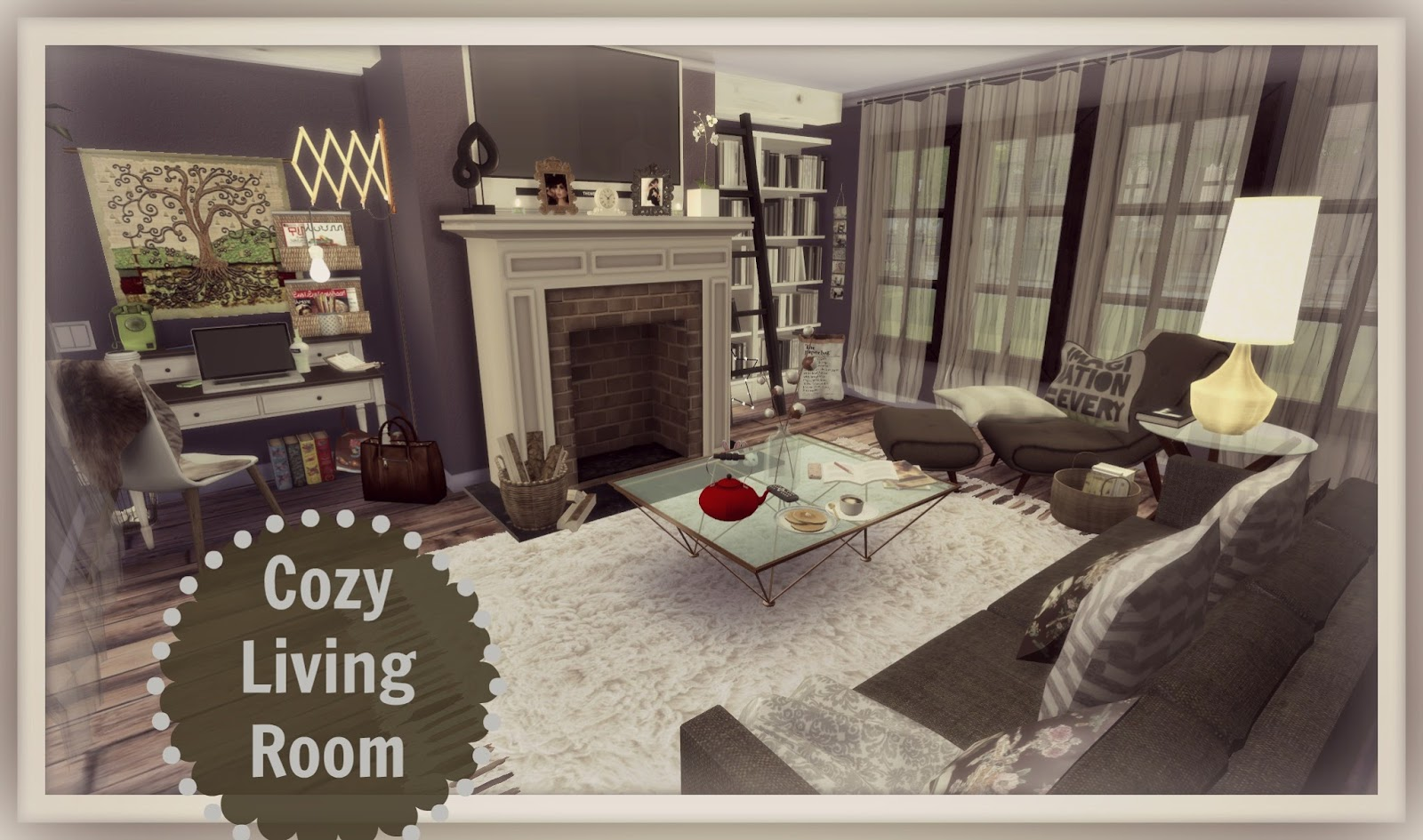 Sims 4 cozy living room dinha for Living room ideas sims 3
