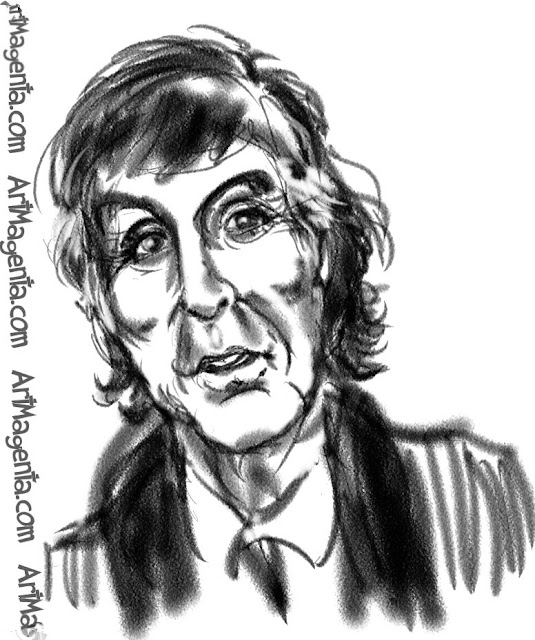 Paul McCartney caricature cartoon. Portrait drawing by caricaturist Artmagenta