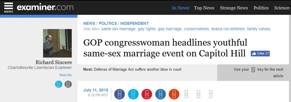 gay marriage Ileana Ros-Lehtinen young conservatives