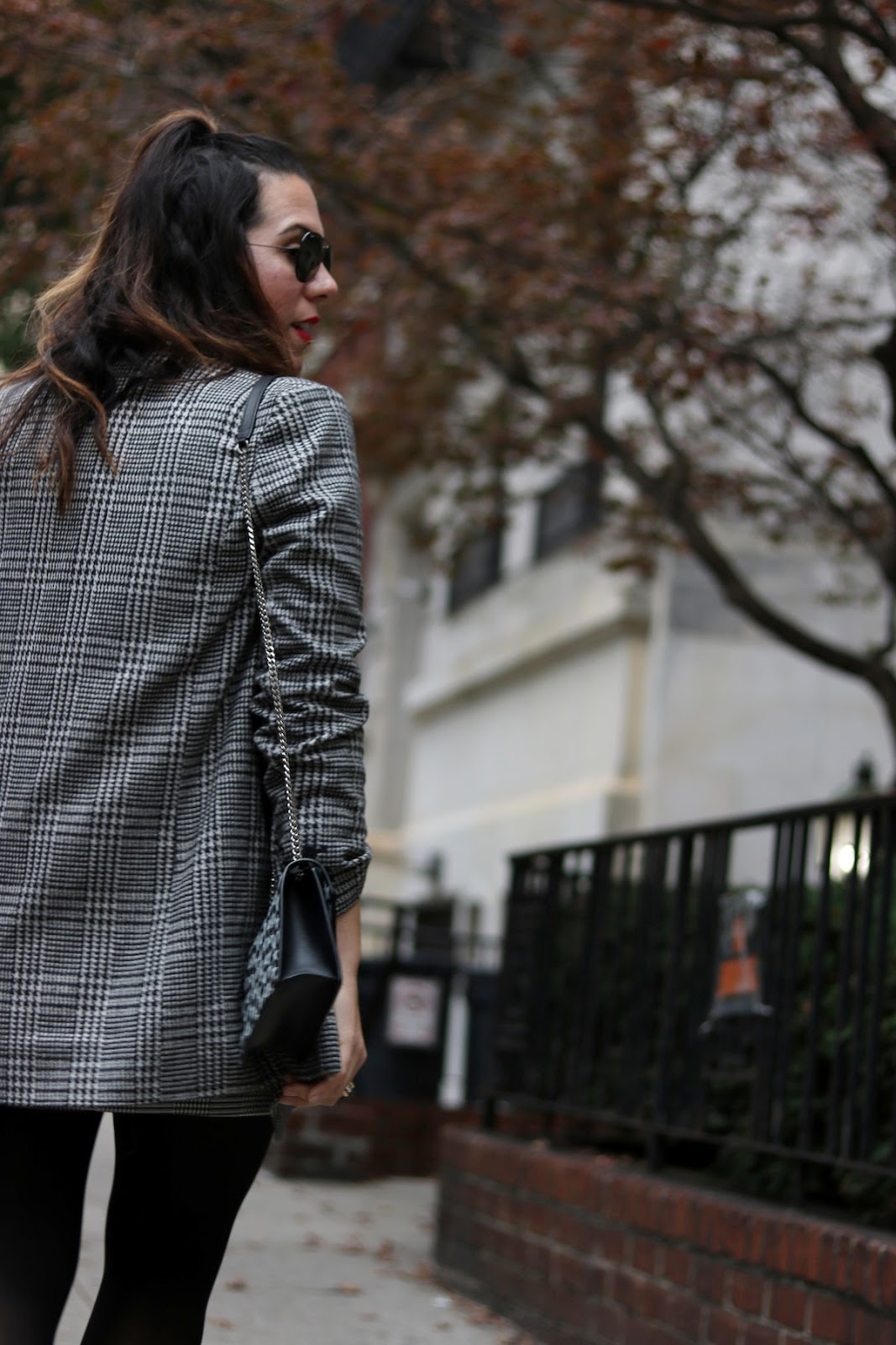 Le Chateau houndstooth skirt h&m oversized plaid blazer cute winter outfit ysl star handbag