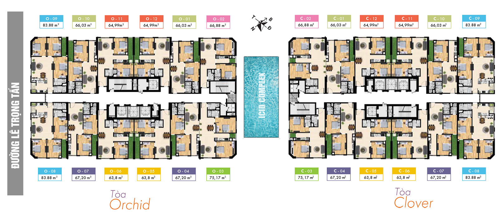 Mặt bằng tổng thể tổ hợp chung cư ICID Complex
