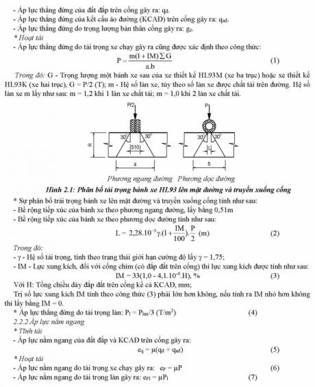 Phương pháp tính toán kết cấu cống tròn BTCT theo 22 TCN 272-05-1