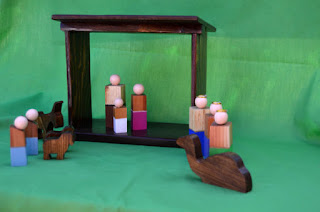 Hand carved nativity from JJLadell's on Etsy