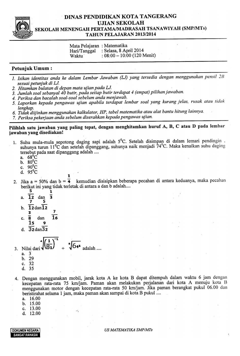 Soal Ujian Sekolah Matematika Smp Tahun  Dari Diknas Kota Tangerang