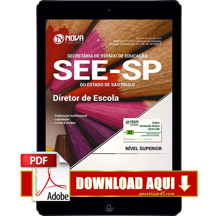 Apostila SEE SP 2017 PDF Download Diretor de Escola