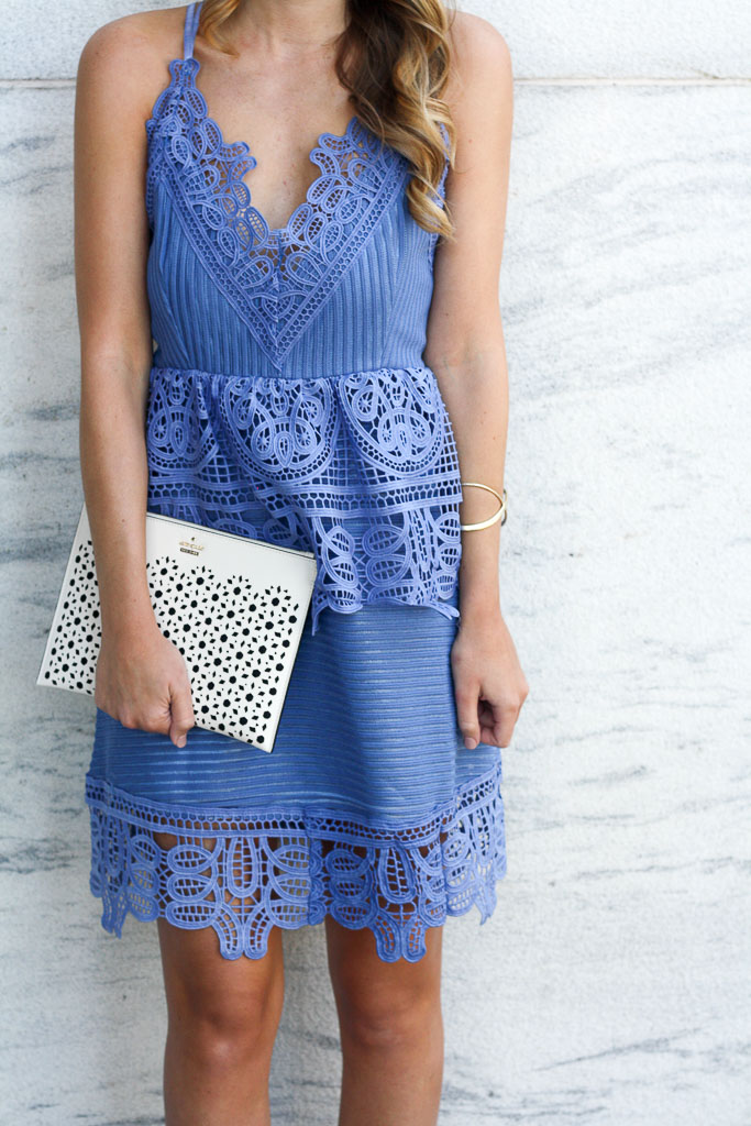 A crochet mini that's perfect for summer wedding guest attire!