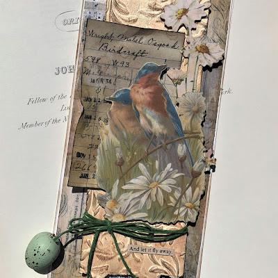 Sara Emily Barker https://sarascloset1.blogspot.com/2019/05/for-love-of-birds-vintage-card-for.html For the Love of Birds Vintage Card Tim Holtz Sizzix 3D Embossing  Ideaology Collage Paper & Ephemera 6