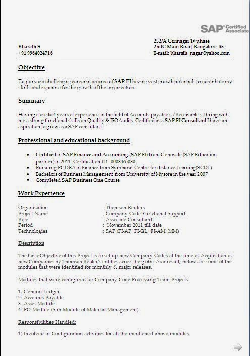 sample resume for sap abap 1 year of experience - sap fico resume with 5 years experience