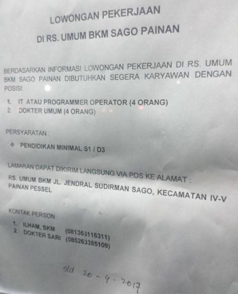 Lowongan Kerja Sumbar: RS. Umum BKM Sago Painan April 2017